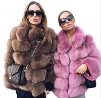 Womens Faux Fur Coat Mid Long Jacket Parka Thicken Winter Warm Overcoat Outwear