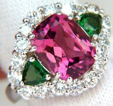 █$26000 GIA 8.56CT NATURAL VIVID PINK RUBELLITE TSAVORITE DIAMOND RING HALO A+