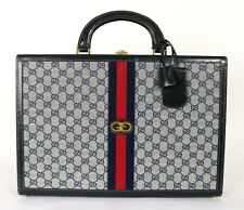GUCCI Vintage Navy & Gray Logo Canvas & Leather Hard Sided Briefcase