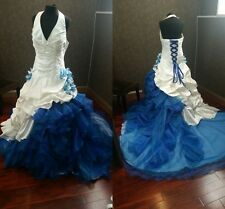 Victorian Gothic White and Blue Wedding Dresses Satin Lace-up Formal Bridal Gown