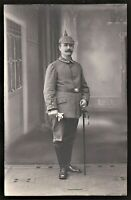 WW1 GERMAN OFFICER SWORD PICKEHAUBE EMPIRE MILITARY ANTIQUE RPPC PHOTO POSTCARD