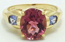 Genuine Pink Topaz & Tanzanite 14k Yellow Gold Ring