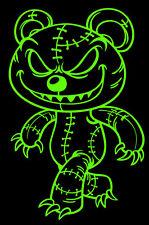 Zombie Sticker EVIL TEDDY BEAR grin Voodoo Vinyl Window 4x6 Decal GREEN