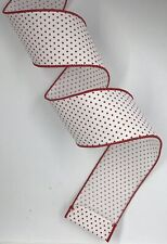 """Red White Swiss Dots Ribbon, 2.5"""" wide x 10 yards, spool"""