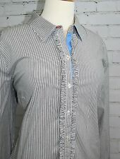 Tommy Hilfiger Ruffle Blouse White/Gray Chambray Vertical Stripes Cotton/Stretch