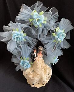 Vintage Unique Blue Roses Lace Dress 1950's  Bride & Groom Wedding Cake Topper