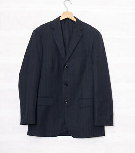 Boggi Milano Men's 40 R Navy Blue Pinstripe Wool Blazer Jacket Italian Fabric