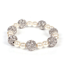 Mikey London Pearl & Crystal Ball Stretch Bracelet, Ladies, Brand New Fashion