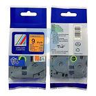 2PK Black on Fluorescent Orange Tapes TZ-B21 TZe-B21 Compatible for P-touch 9mm