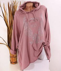 Italy Shirt Sweatshirt Hoodie 44 46 48 rosa Kapuze Strass Flügel Oversize Damen
