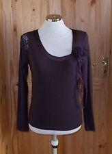 £3max rk purple long sleeve lace flower tunic t-shirt top steampunk M10-12