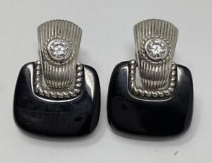 Judith Ripka Sterling Silver Clear Stone Onyx Dangle Post Earrings (14.6g)