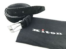 "KITON Black Suede Men's Dress Belt 42"" Size 105 cm STERLING SILVER .925 Leather"