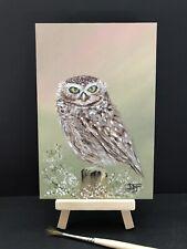 "Owl Oil Painting David Ferrero Original 6x4"" 3mm MDF Owl Art"