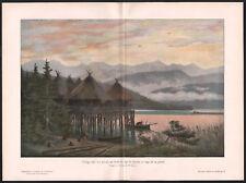 1903 gravure Lac de Zurich village sur pilotis à l'âge de pierre préhistoire