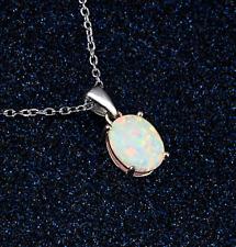 Woman Fashion 925 Silver Jewelry White Fire Opal Charm Pendant Necklace Chain ~~