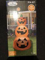 Gemmy Airblown Inflatables 4' Halloween Pumpkin Stack Decoration, LED Lights Up