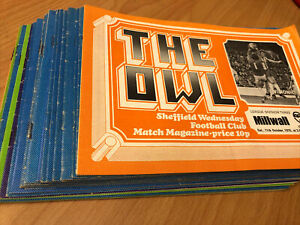 25 X SHEFFIELD WEDNESDAY HOME PROGRAMMES SEASON 1975 - 1976 FOOTBALL PROGRAMMES