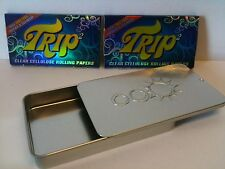 2 PACKS TRIP2 CLEAR 1 1/4 Rolling Papers + Slide Top Tobacco Storage/Stash Case
