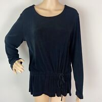 Chico's Travelers Tunic Top Size 2 Solid Black Long Sleeve Scoop Neck Slinky
