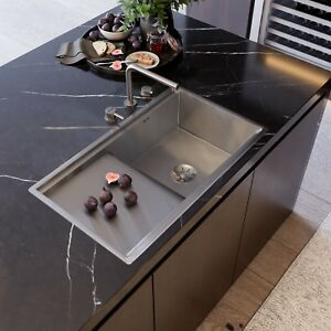 Premium Handmade Brushed Stainless Steel Kitchen Sink - Single Bowl with Drainer