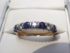 * 18CT GOLD * Charles & Colvard Sapphire & Moissanite Half Eternity Band Ring *