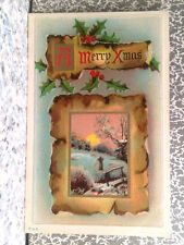POSTCARD MERRY X-MAS WITH SMALL PICTURE OF PERSON IN FIELD CHRISTMAS