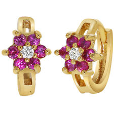 18k Gold Plated Hot Pink Fuchsia Flower Hoop Earrings Girls Kids Children 0.39""