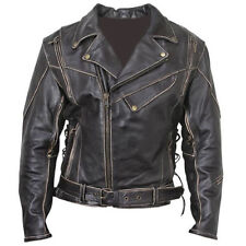 VINTAGE DISTRESSED BRANDO MEN'S BIKER LEATHER JACKET COWHIDE REAL