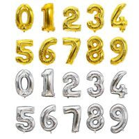 2 Colors Helium Number Foil Balloons Wedding For Birthday Party Decoration