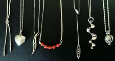 Job Lot Vintage Jewellery Sterling Silver Diamond Coral Pendant Necklace & Chain
