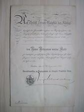 Certificato di Prussia per Aquila Rossa Orden quarto CLASSE ORIGINALE!