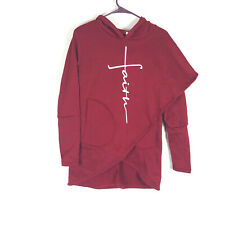 Small Faith Hoodie Womens Assymetrical Red Layered Sweatshirt Religious Pocket