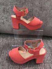 Simply Be Jenni Pink Coral Platform Sandals Block Heel Uk 7 Wide 40 Summer