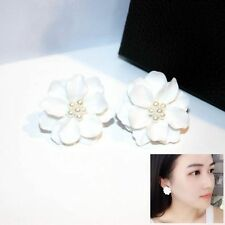 1 Pair Beads Plastic Simulated Pearl Big White Flower Stud Earring Camellia
