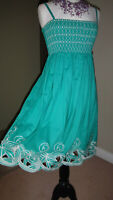 MARKS & SPENCER M&S Womens Embroidered Green 100% Cotton Dress UK 8