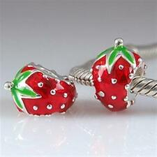 NEW 925 Sterling Silver European Bracelet Charm Bead Enamel Strawberry