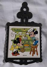 Vtg Walt Disney Productions Mickey Minnie Mouse Trivet Japan Cast Iron Ceramic