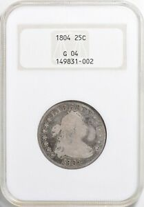 1804 DRAPED BUST QUARTER >NGC G4< Attractive Toning >SUPER FAST SHIPPING!
