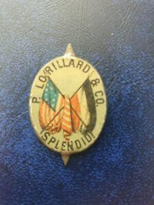 vintage P LORILLARD SPLENDID Tobacco Cigarette USA Flag pin button pinback