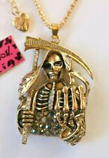 NEW! Betsey Johnson Crystal Rhinestone Enamel Skeleton Scythe Necklace Pendant