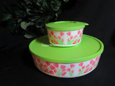 Tupperware  NEW Pink Green Tulips Flowers Twist STACKING Snack Bowl SERVING Set