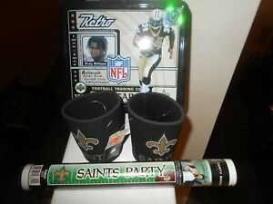 N.O Saints Mancave Items R Williams Lunch Pail/ 2 Party Banners/2 Can Inserts