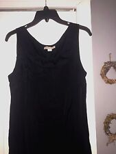 COLD WATER CREEK SLEEVELESS BLACK RUFFLED NECKLINE/FULLY LINED SIZE 14P