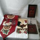 Set 4 Chicken Rooster 1 Tapestry Bell Pull 1 Dish towel 2 wall hangers Country