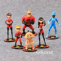 6X Pixar The Incredibles 2 Action Figure Play set Toy Doll Cake Topper Kids Gift