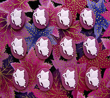 Facing 6 Pair 18mm x 13mm Cameos Lot 12 new White Butterfly on Raspberry Plum L.