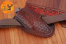 "7.5"" Hand Made Pure Cow Leather Sheath For Fix Blade & Folding Knife - Aj 1363"