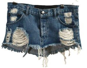 One Teaspoon S 8 Dark Distressed Frayed Mini micro Skirt Blue demin vintage