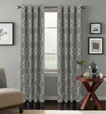 "Colordrift Mandy Grommet Top Curtain Panel 95"" Charcoal Gray Embroidered 1 Panel"